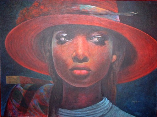 It's by Haitian-American artist Jean Claude Legagneur showing all through December 2013 at the  Multitudes Contemporary Art Gallery in Miami.