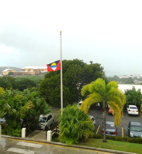 The Antigua and Barbuda flag being flown at half mast in tribute to the man, Madiba, whose impact was felt around the world.