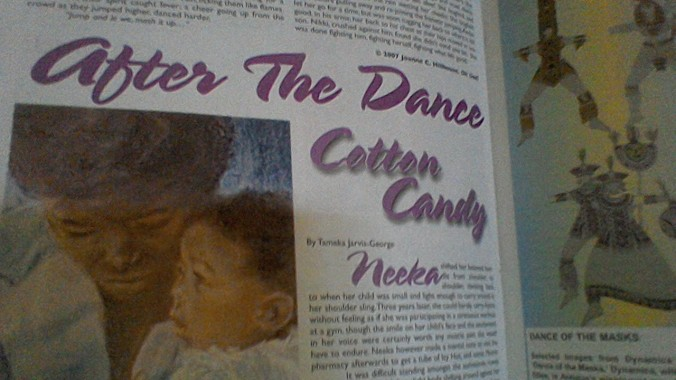 Tameka's story is about a mother and daughter, Neeka and Ayana, and the Debbie Eckert painting complementing it is of a mother and daughter Lornette and Oriane. Off to the right, you can glimpse sketches from Dance of the Masks, the Errol Bumpy Nanton designs from Dynamics' 2001 presentation.