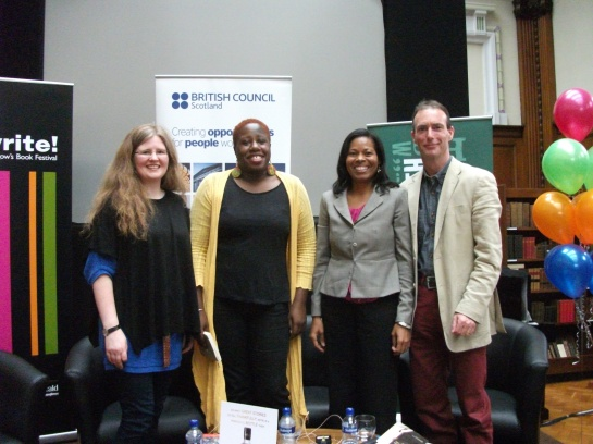 My panel at the Aye Write! festival. From left Gemma Robinson, me, Ivory Kelly, and Martin McIntyre. Gemma is a professor and was our facilitator, Ivory is a writer from Belize and Martin's a writer from Scotland.
