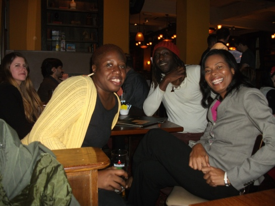 And we found other ways to entertain ourselves. Can't go to the UK and not have a pub lime. That's me and Ivory with Glasgow-based Jamaican writer Kei Miller.