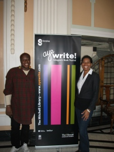 Joanne, left, with Belizean writer Ivory Kelly at Aye Write!