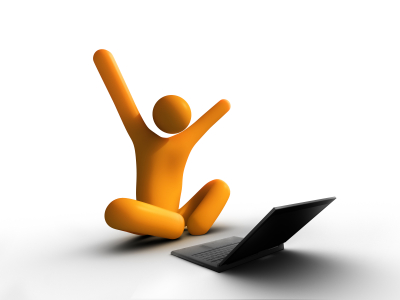 Couldn't find any images of black girls typing in bed so orange man stretching (or celebrating) it is.