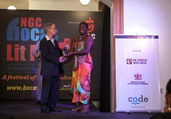 Collecting the second place Burt Award trophy, 2014, in Trinidad.