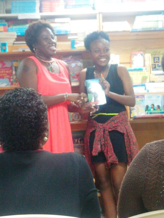 And here is the winner of the Wadadli Pen Challenge, actually this year and last, Asha Graham, who shared her story from this year Lajabless. All Wadadli Pen participants received copies of my book, Musical Youth.