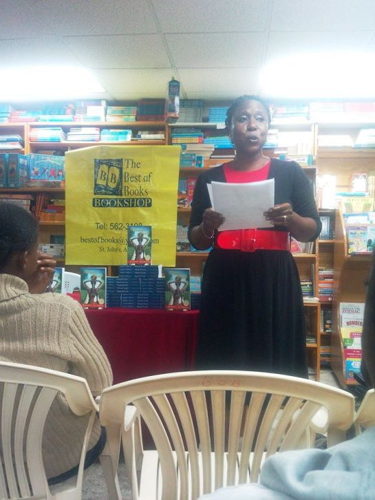 Wadadli Pen Teacher's prize winner, Margaret Irish, reading from her story, The Skipping Rope, at the launch of my book, Musical Youth.