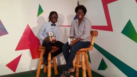 with interviewer, Cuthbert, on Good Morning Antigua and Barbuda Teen Edition February 2015.