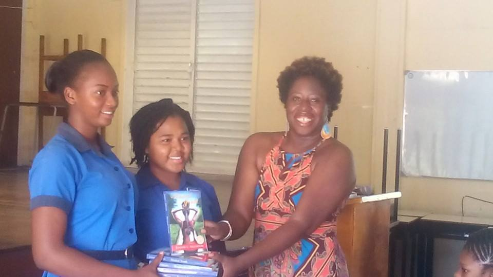 Winners ...and #MusicalYouths in their own right ... members of the AGHS winning cast from the secondary schools drama festival collecting copies of Musical Youth.