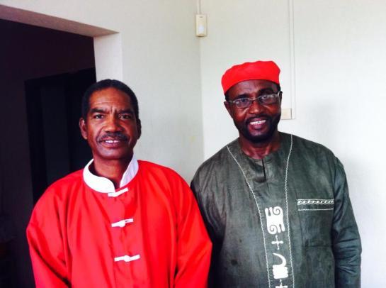Sifu Jurey Gomes with Calypso Joe. Images courtesy TEDx Antigua.