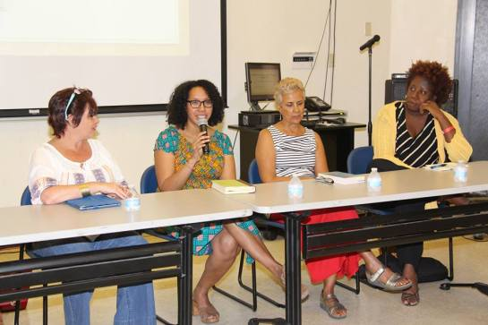 With Sharon Millar, Tiphanie Yanique, and Gillian Royes at the V I Lit Fest 2015.