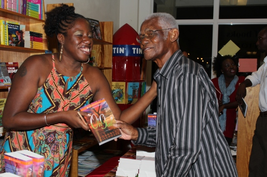 with late Antiguan and Barbudan calypso writer Marcus Christopher who came out for the midnight launch of my novel Oh Gad! in 2012. It meant a lot to see him there. May he rest in peace.