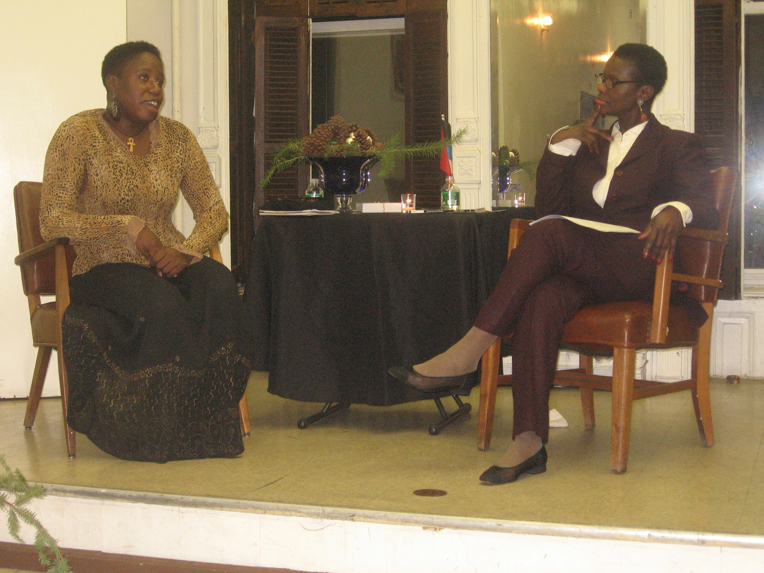 The inaugural Friends of Antigua Public Library author-in-residence programme in New York, 2007. My interviewer for the evening was Monica Matthew, author of Journeycakes.