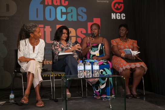The Burt Awards panel at the Bocas Literary Festival in 2014 - that's winner A-dziko Gegele, far left, and far right, fellow finalist Colleen Smith-Dennis, both Jamaican writers.
