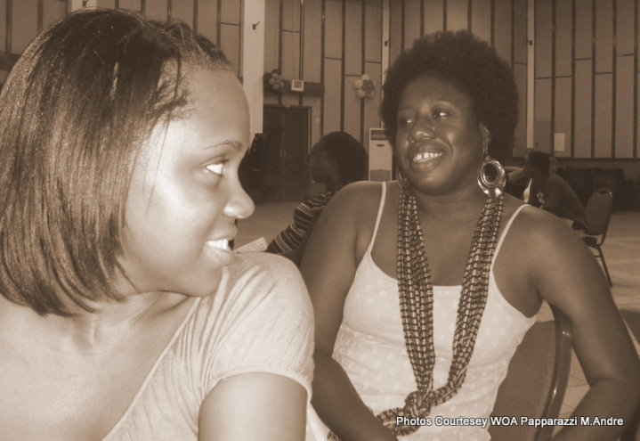 This is not technically a literary event but close enough - it's a candid for rehearsals for When a Woman Moans, a theatrical production put on by Women of Antigua. Usually behind the pen, I am pictured here with another of the actors Floree Williams (Antiguan and Barbudan author of Pink Teacups and Blue Dresses).