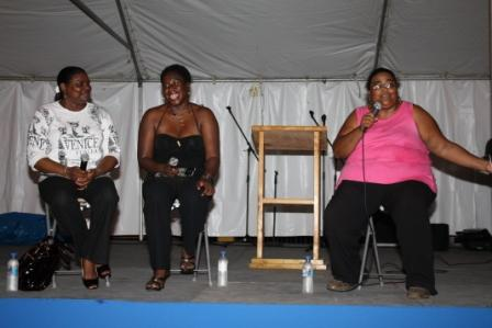 with Antiguan and Barbudan writers D. Gisele Isaac and Barbara Arrindell.