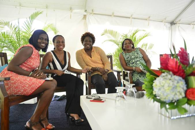 at the Anguilla Literary Jollification with Marilyn Hodge, Rhoda Arrindell and chair Rita Celestine-Carty.
