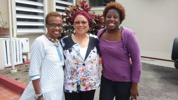 With Althea Romeo Mark - Antiguan born writer now resident in Switzerland, and Brenda Lee Browne - British born with Antiguan roots and resident in Antigua - 2015 at the Antigua Conference.