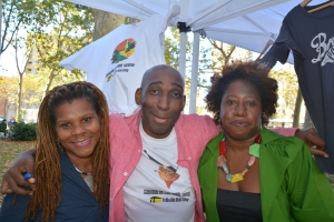 With Bev and E Wayne of the Caribbean Cultural Theatre (at the CCT tent where Caribbean books were showcased).