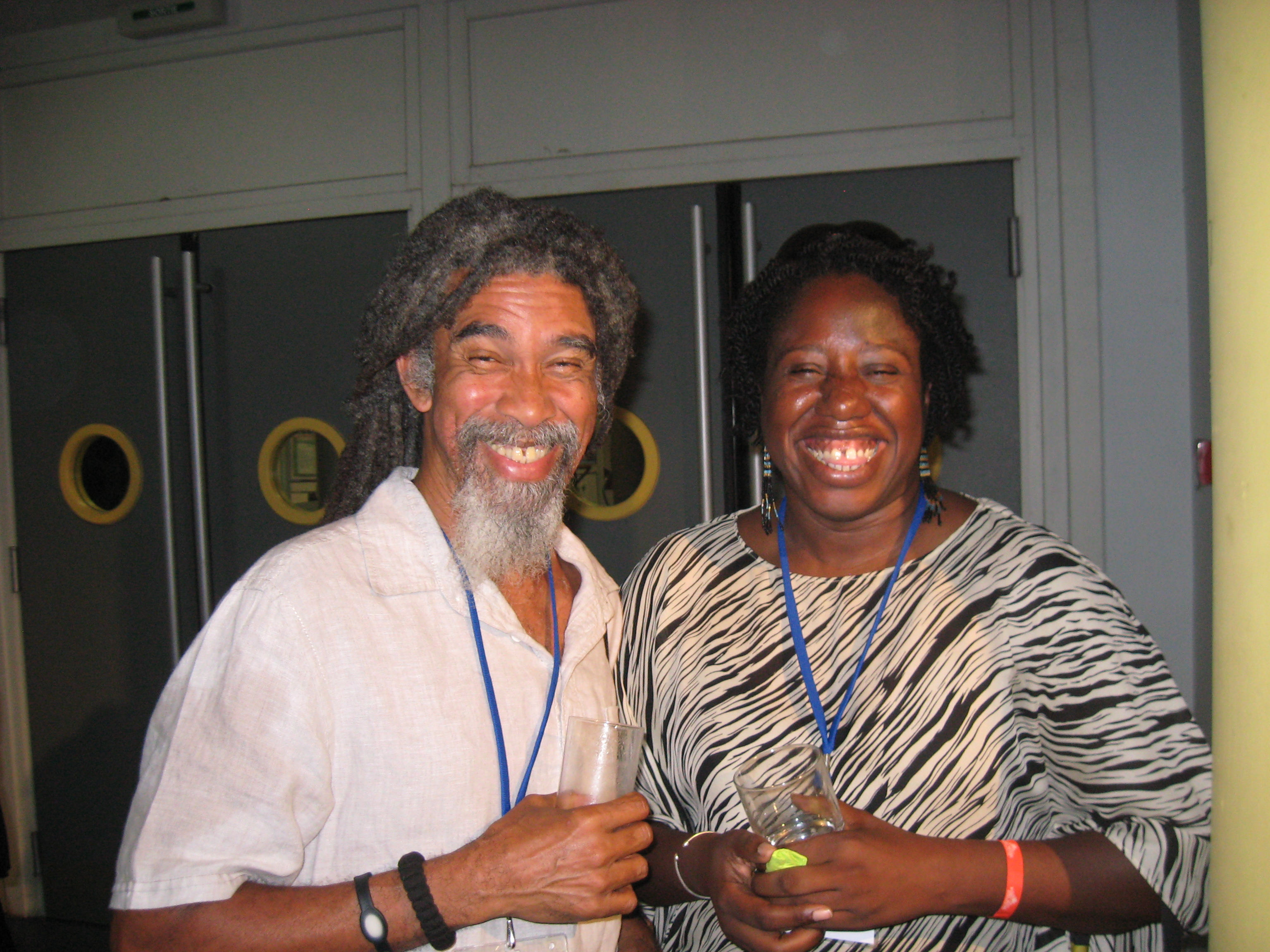 So many laughs with St. Lucian poet and playwright Kendel Hippolyte at the Caribbean Congress of Writers in Guadeloupe (2013).