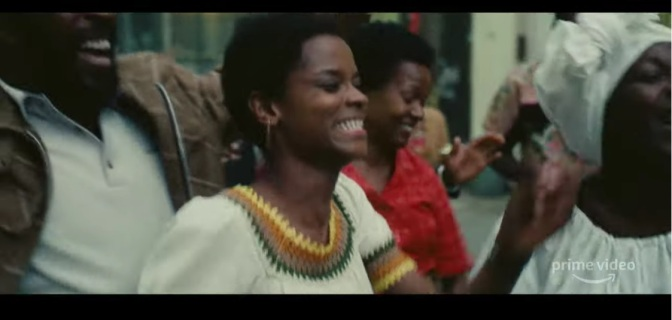 Scene from Mangrove featuring Black Panther's Letitia Wright.