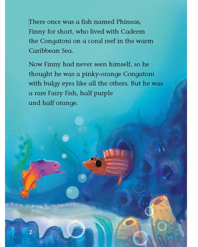 A Scene from Finny the Fairyfish by Jamaican writer Diana McCaulay with illustrator Stacy Byer of Grenada.
